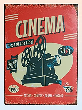 Amazon.com: Cartel de Chapa Cinema 30 x 40 cm: Home & Kitchen