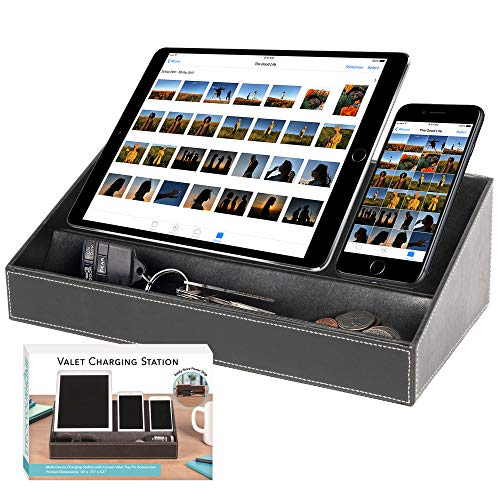 (Multi-Device Charging Station Desktop Valet Organizer for Cell Phones Tablets Accessories – USB Charger Power Strip Not Included 14