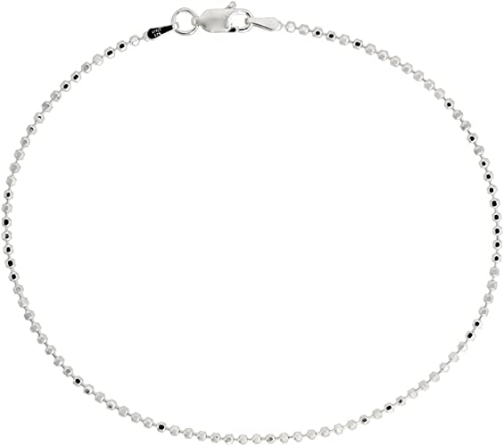 "925 Sterling Silver Faceted Pallini Ball Bead Links Chain Necklace 1.8mm 16/"" 30/"""