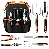 Quimat 7Pcs Aluminum Alloy Hand Kit Garden Tools Set with Soft Rubberized Non-Slip Handles, Including Trowel Transplanter Cultivator Pruner Weeder and Weeding Fork