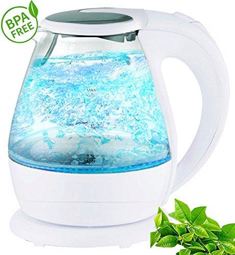 Glas Wasserkocher kabellos 1,7 Liter 2200 Watt Tee Kessel in Schwarz und Weiss mit LED Beleuchtung NEU (Glas / Weiß)