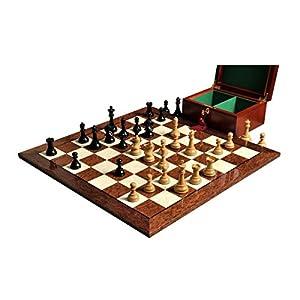 "The House of Staunton The Drueke Chess Set, Box, Board Combination - 3.75"" King - Ebonized Boxwood - by"