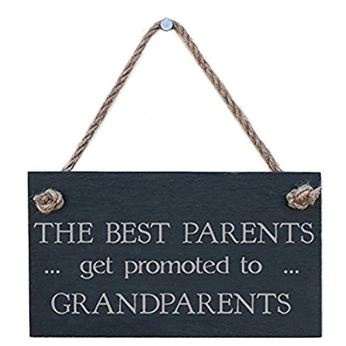 AMELIA SHARPE Home Decor 12 x 8 Plaque Sign The Best Parents Get Promoted to Grandparents Wooden Sign for Outdoor Yard Hanging Sign
