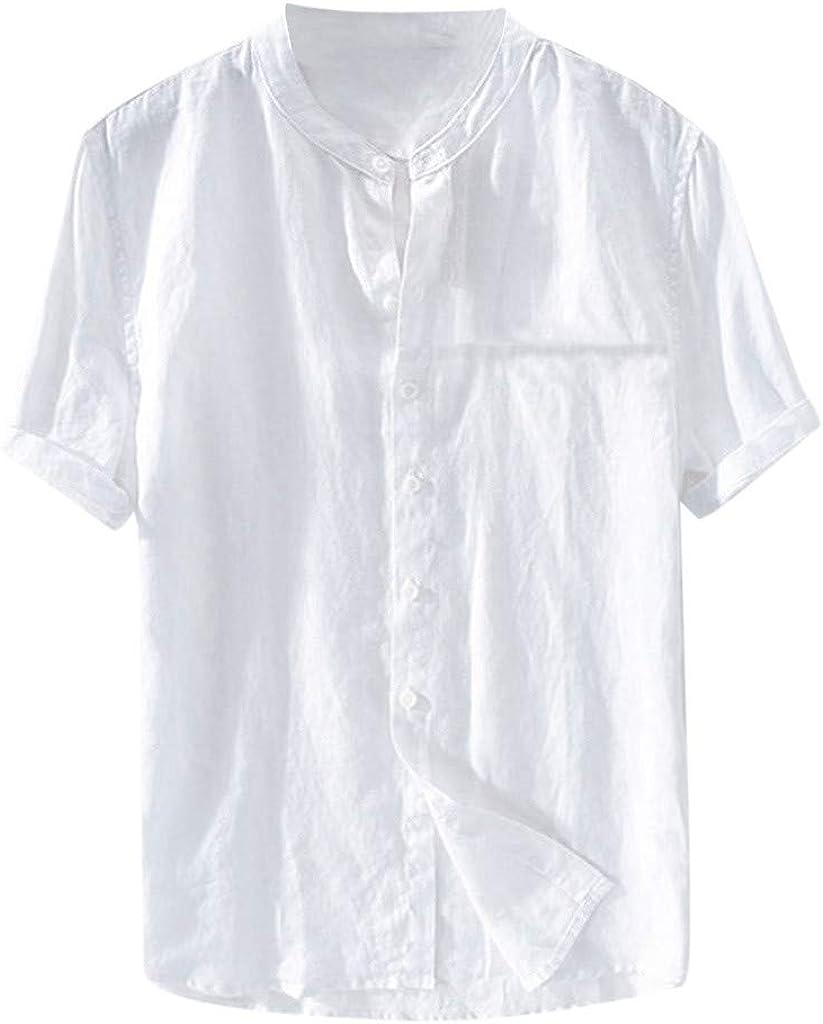 Gusspower Camiseta de Manga Corta para Hombre,Camisa Verano Algodón y Lino Blusa Suelta Casual Top Transpirable con Botones Camisas Collar de pie de Color Sólido Tallas Grandes Blusas Chaleco Polo