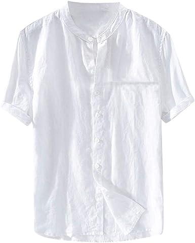 Henley Camisas de Manga Corta para Hombre, Cuello de Franja y Botones, Camisa de Lino Casual, Camiseta Retro, Blusa - Blanco - Large: Amazon.es: Ropa y accesorios