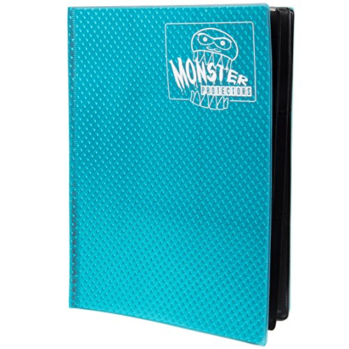 Monster Binder - 9 Pocket Trading Card Album - Holofoil Aqua Blue- Holds 360 Yugioh, Magic, and Pokemon Cards by Monster Protectors