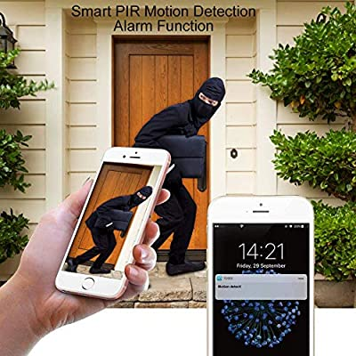 Wireless Doorbell, Smart 720P HD WiFi Security Camera with Two-Way Talk, Night Vision, PIR Motion Detection, Self Storage Function and App Control for iOS and Android