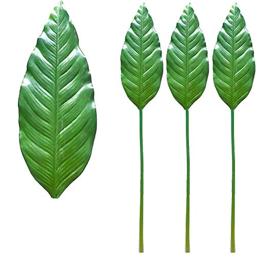 Aisamco 3 Pcs Artificial Tropical Leaf Spray Large Strelitzia Reginae Leaves Fake in Green 34 Tall, Artificial Bird Paradise Leaves Floral Arrangement