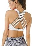Queenie Ke Women's Medium Support Strappy Back Energy Sport Bra Cotton Feel Size L Color Angle White