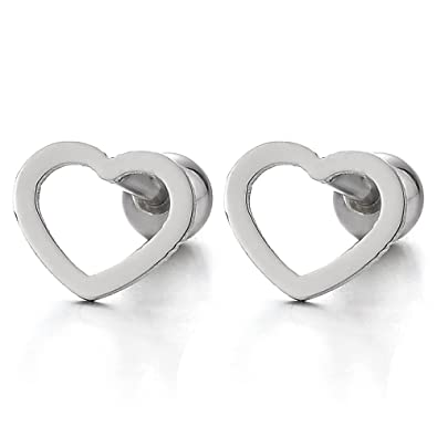 Womens Girls Stainless Steel Flat Open Heart Stud Earrings, Screw Back, 2Pcs