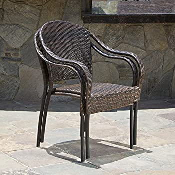 Great Deal Furniture Set of 2 Outdoor Stackable Wicker Dining Armchairs