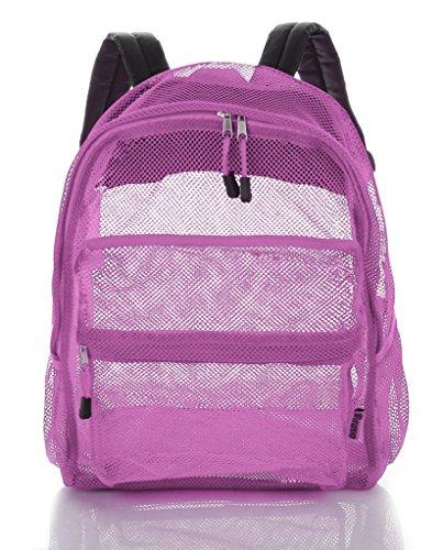 Mesh Backpack For Kids Men & Women By Bravo - Large School & Travel Bag - Stylish Transparent See Through Design - Comfortable Padded Shoulder Straps - Utility Pocket & Bottle Holder