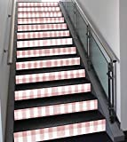 Stair Stickers Wall Stickers,13 PCS Self-Adhesive,Checkered,Picnic in Countryside Themed Gingham Pattern in Light Colors Print,Pink Light Pink White,Stair Riser Decal for Living Room, Hall, Kids Room