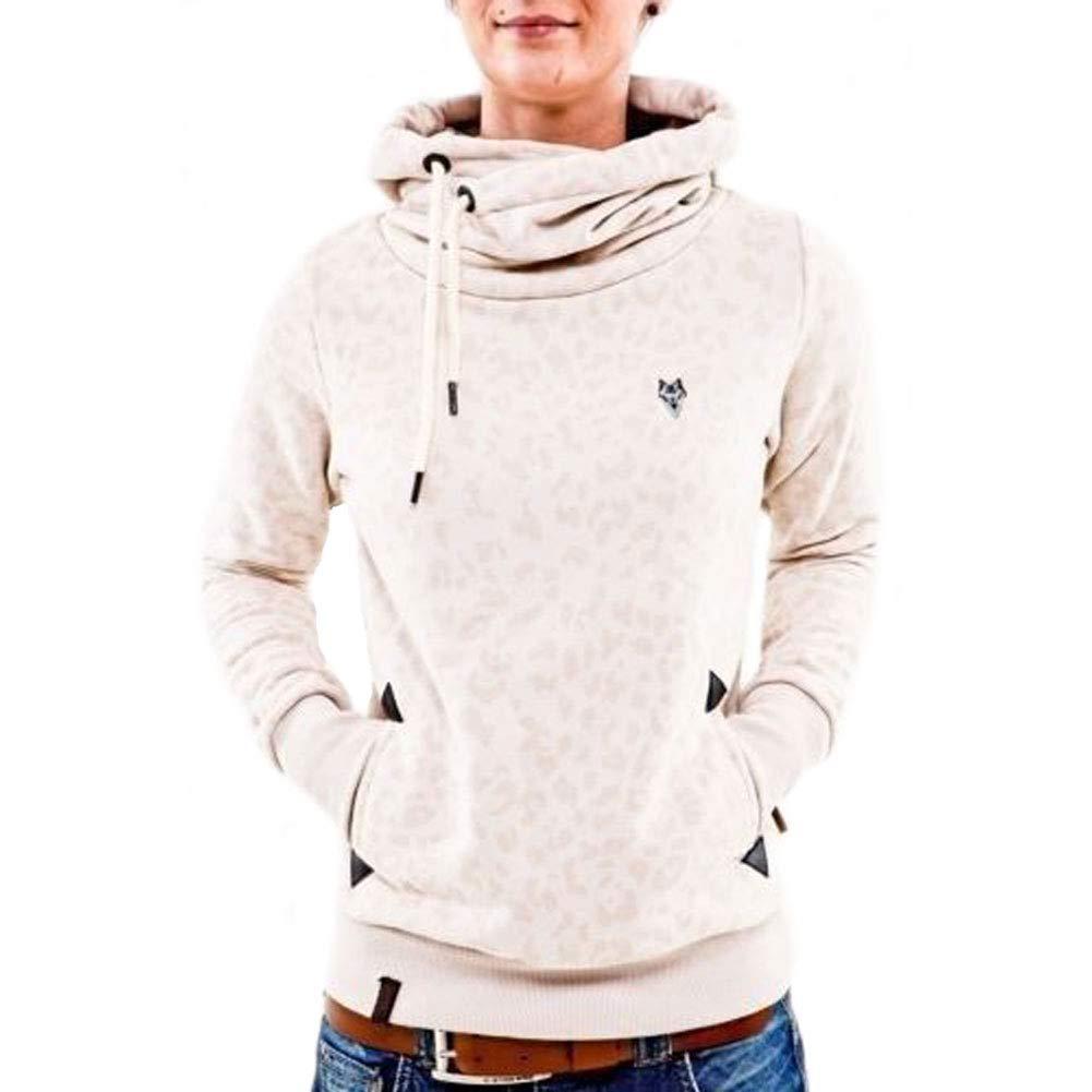 CHIYEEE Damen Lange Ä rmel Hoodie Frauen Kapuzenpullover Pullover mit Kapuze Cross Over Kragen und Fleece Innenseite S-5XL