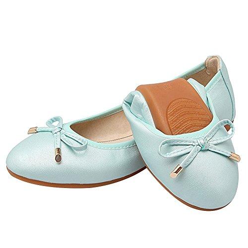 Morbido su rismart Danza Elegante Bowknot Azzurro Scarpe Donna Scivolare Ballerine Piatto a1q6g14Tw
