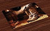 Lunarable Western Place Mats Set of 4, Wild West Theme Boots in Wooden Room Classical Folkloric Old Fashioned Wild Sports Theme, Washable Fabric Placemats for Dining Room Kitchen Table Decor, Brown