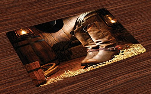 Lunarable Western Place Mats Set of 4, Wild West Theme Boots in Wooden Room Classical Folkloric Old Fashioned Wild Sports Theme, Washable Fabric Placemats for Dining Room Kitchen Table Decor, Brown -