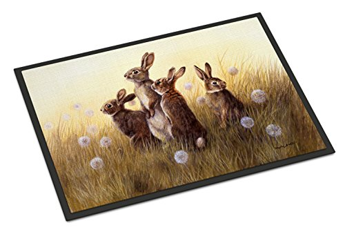 - Caroline's Treasures Rabbits in the Dandelions Indoor or Outdoor Mat 18x27 BDBA0144MAT 18