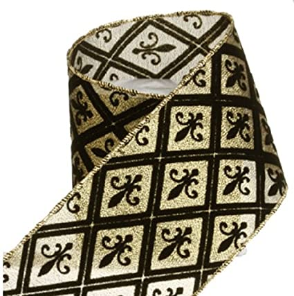 fleur de lis christmas wired ribbon 4 inch wide x 10 yards black and