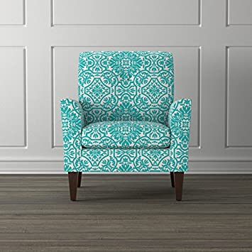 Portfolio Alex Turquoise Damask Arm Chair
