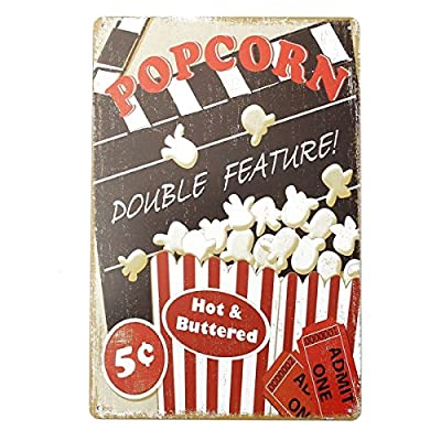Wall Art - Popcorn Tin Sign Vintage Metal Plaque P Bar Pub Home Wall Decor - Popcorn Tin Sign Vintage Metal Wall Decor Accessories Ornament Ornaments - Bar