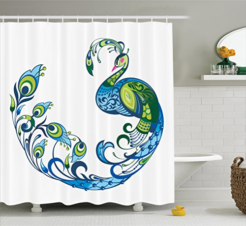 Colorful Peacock (Peacock Decor Shower Curtain by Ambesonne, Peacock Colorful Fashion Curvy Pattern Tropical Summer Blossom Flourish Art Image, Polyester Fabric Bathroom Decor Set with Hooks, Green Blue and Pink)