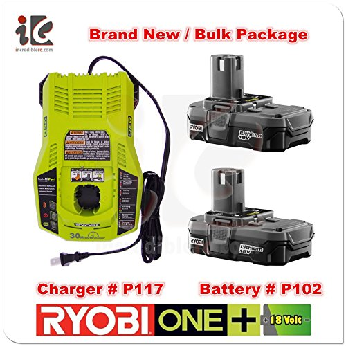 Ryobi 18V P117 Dual Chemistry IntelliPort Charger & Two 18 Volt P102 ONE+ 18-Volt Lithium-Ion Compact Battery (Bulk Packaged) (Renewed)