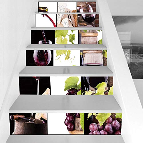 Stair Stickers Wall Stickers,6 PCS Self-adhesive,Wine,Wine Collage with Barrel Bottle Wineglass Grape Gourmet Taste Beverage Decorative,Burgundy Light Green White,Stair Riser Decal for Living Room, Ha ()