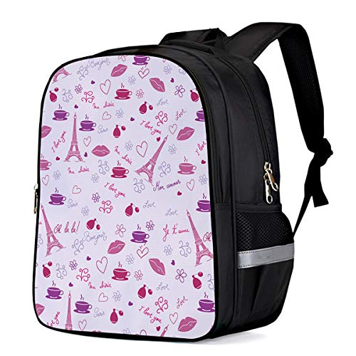(Toddler Backpack Romantic Parisian Iron and Red Lips Pre-School Kindergarten Bag With Adjustable Padded Shoulder For Travel13)