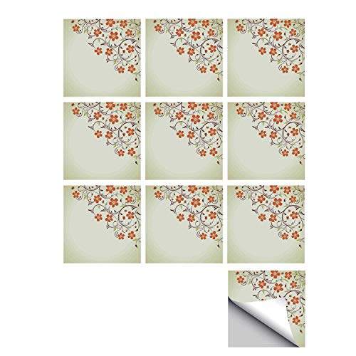 C COABALLA Ladybugs Stylish Ceramic Tile Stickers 10 Pieces,Flower Frame with Tiny Little Ladybugs and Swirl Branches Spring Decorative for Kitchen Living Room,7