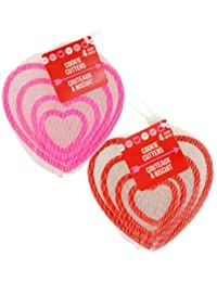 Favor (Multipack of 2) 4 Count Heart Shaped Cookie Cutters, 1 Pink 1 Red occupation