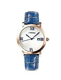 Sheli Girls Neutral Wristwatch Quartz Blue Leather Watchband Date