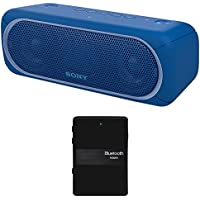 Sony XB30 Portable Wireless Speaker with Bluetooth, Blue - SRSXB30/BLUE (2017 model) + Bluetooth 4.1 Stereo Receiver and Transmitter 2 in 1