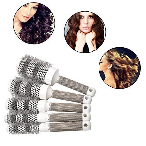 inkint Salon Rundbürsten mit 5 Größen Rundkamm Zylinder Haarkamm Aluminium+Gummi Comb Softgriff Professionelle Hair Styling-Tools für Massage/Beauty