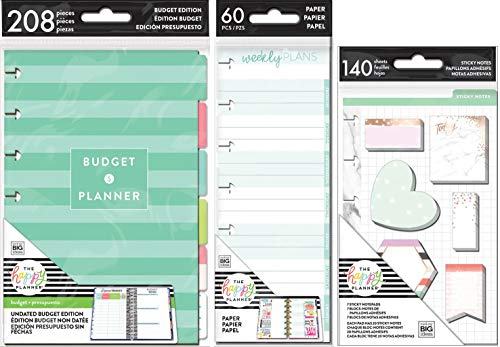 Mini Happy Planner Accessories - Undated Budget Extension Pack, Sticky Notes and Half-Sheets - 3 MAMBI Items