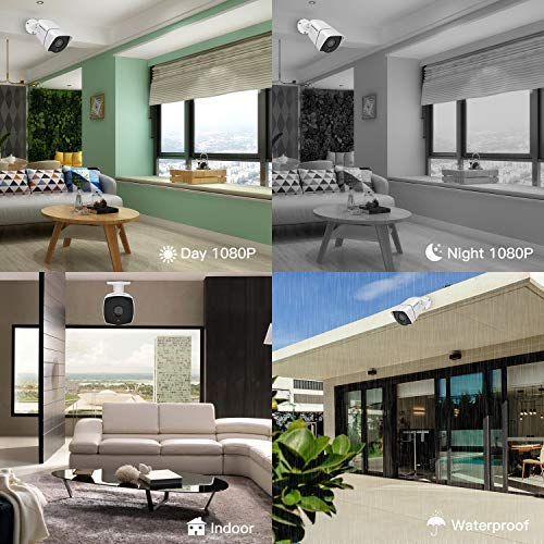 【Better Than H.264】 POE Security Camera, SMONET Full HD 1080P Bullet Camera, IP66 Home Security Camera Indoor&Outdoor, Support ONVIF, Cloud Service, 65ft Night Vision, Super Low Bitrate