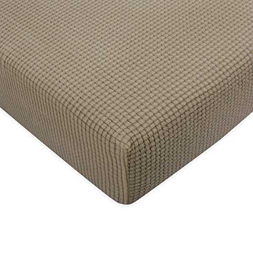 Seat Cushion Cover - Subrtex Spandex Elastic Couch Stretch Durable Slipcover Furniture Protector Slip Cover for Settee Sofa Seat (Loveseat Cushion, Sand)