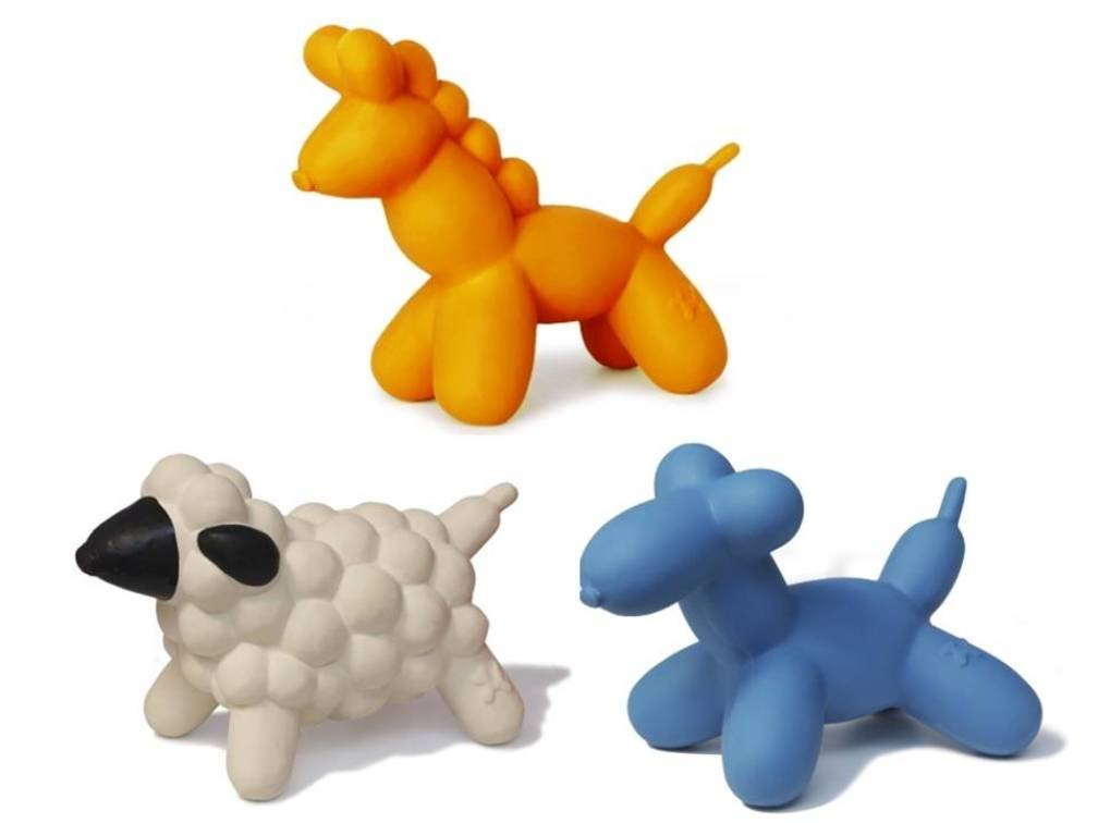 Charming Pet All Natural Soft Latex Mini Squeaker Toy 3 Shape Variety Bundle: (1) Charming Horse, (1) Charming Sheep, and (1) Charming Dog