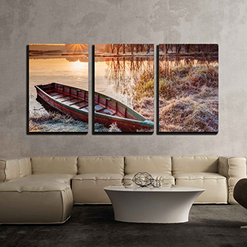 "wall26 - 3 Piece Canvas Wall Art - Calm Water of Lake, River and Rowing Fishing Boat at Beautiful Sunrise in Autumn Morning. - Modern Home Decor Stretched and Framed Ready to Hang - 16""x24""x3 Panels"