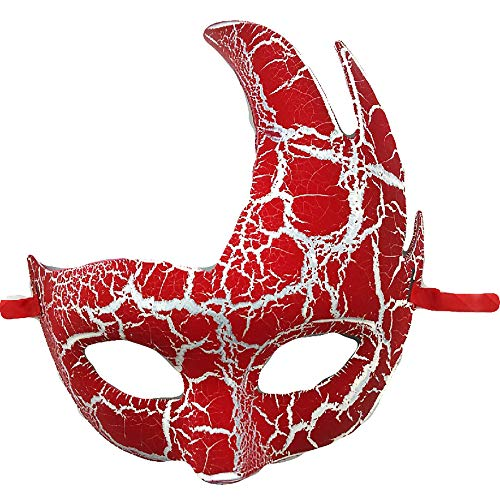 Halloween Adults Kids Mask Decoration Masquerade Antler Half Face Festival Party Supplies Cosplay Props(Red -