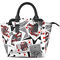 ALAZA Different Casino Playing Card Leather Hobo Tote Bag Top Handle Handbags