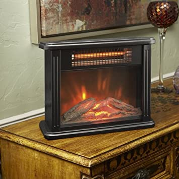 Lifesource Durable, Effiecient,, Tabletop Infrared Personal Space Heater  With Realistic Flame Effect