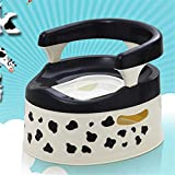 Fklee Potty Training Seat with Handles for Boys and Girls | Slip-Resistant with Splashguard and Hanging Ring | Portable for Travel | Easy to Clean (Color : Milk Cow, Size : 353027cm)