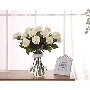 Leegoal(TM) Wholesale Artificial Silk Latex Rose Flowers Wedding Bouquet Bridal Decoration Bundles Real Touch Flower Bouquets Realistic Flower Bouquet(White,10Pcs) 7