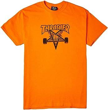 Revista Thrasher Skate cabra seguridad naranja/negro camiseta de manga corta para hombre – Tamaño Mediano: Amazon.es: Deportes y aire libre