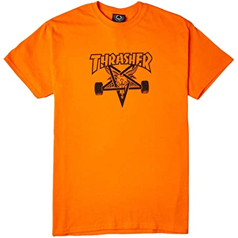 3327512cf4c Image Unavailable. Image not available for. Color  Thrasher Magazine Skate  Goat Safety Orange Black Men s Short Sleeve T-Shirt ...