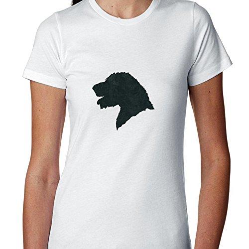 Irish Wolfhound Leash - Hollywood Thread Irish Wolfhound Dog Head Simple Silhouette 100% Women's Cotton T-Shirt