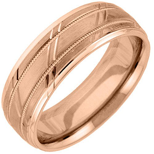 Mens 14KT Rose Gold 6mm Satin Milgrain Comfort Fit Wedding Band