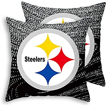 Gloral HIF Pittsburgh Steelers Throw Pillow Covers Set Pack of 2 Cotton Linen Zippered Pillowcase for Car 18