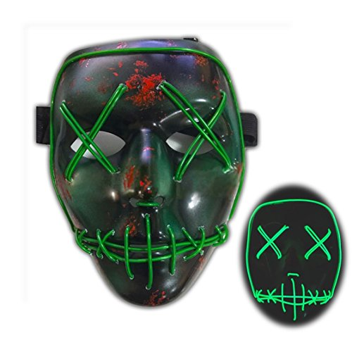 DUUTY Led Scary Mask Halloween Cosplay Light Up Masquerade Rave Masks El Wire for Festival Party Costumes Purge Light Green -